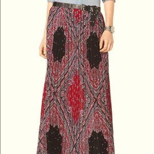 Michael Kors Paisley Pleated Coral Maxi Skirt